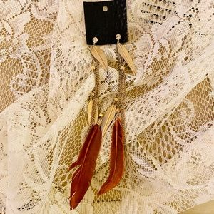 NWT Free People Gold Dipped Feather Earrings